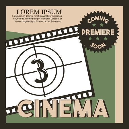 cinema coming soon poster film strip countdown vector illustration