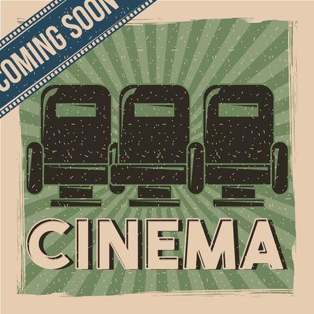 cinema retro poster movie film coming soon seats decoration vector illustration