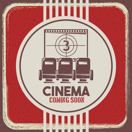 映画はすぐに来るポスターレトロスタイルの座席とフィルムストリップカウントダウンベクトルイラスト  イラスト・ベクター素材