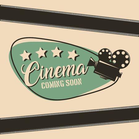 cinema coming soon movie film projector strip poster vector illustration vector illustration