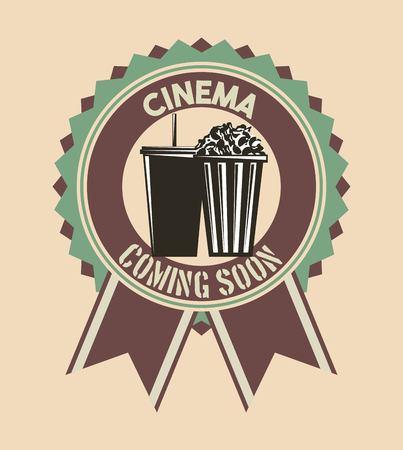 cinema coming soon badge ribbon retro vintage vector illustration