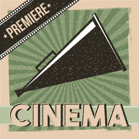 Cinema premiere poster vintage with director speaker illustration Illustration