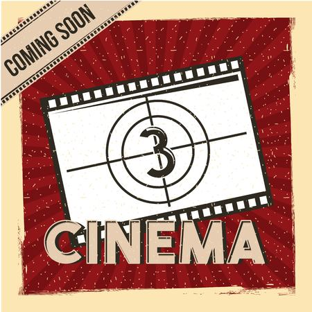 cinema coming soon poster film strip countdown red stripes background vector illustration Illustration