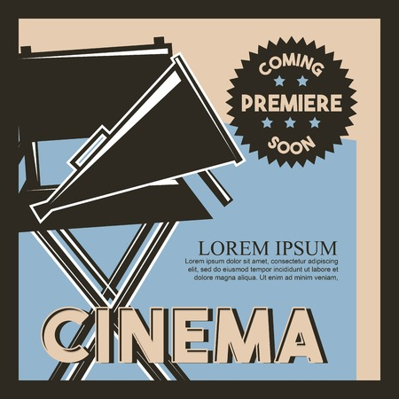 cinema coming soon premiere classic retro poster vector illustration