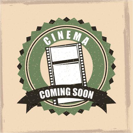Cinema retro coming soon badge banner illustration.