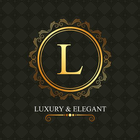 Luxury and elegant golden L in round frame vector illustration. Illustration