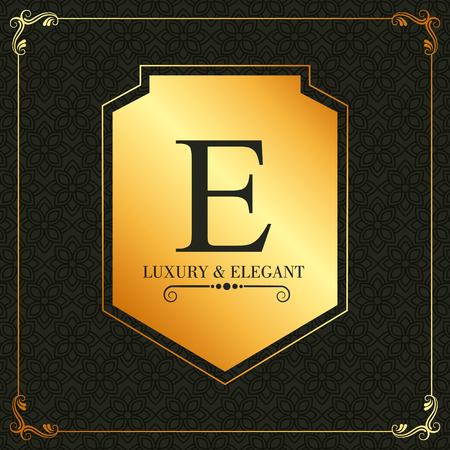 Luxury elegant monogram design template of letter E with golden ornament banner background vector illustration. Иллюстрация