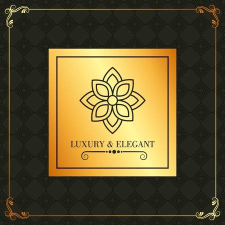 luxury and elegant golden label flower and geometric background vector illustration