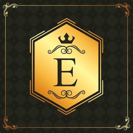 calligraphic design element brand golden emblem template vector illustration
