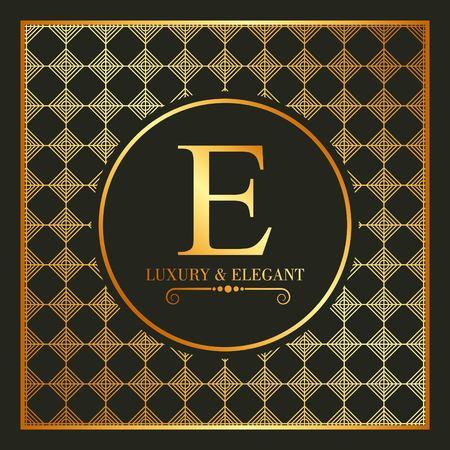 豪華でエレガントなゴールドeフォントと幾何学的なフィギュアベクトルイラスト