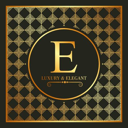 luxury and elegant gold e font and geometric figures vector illustration