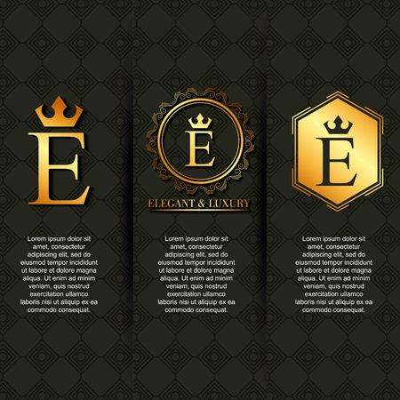 gold luxury elegant letter E calligraphic beautiful vintage emblem banners vector illustration Illustration