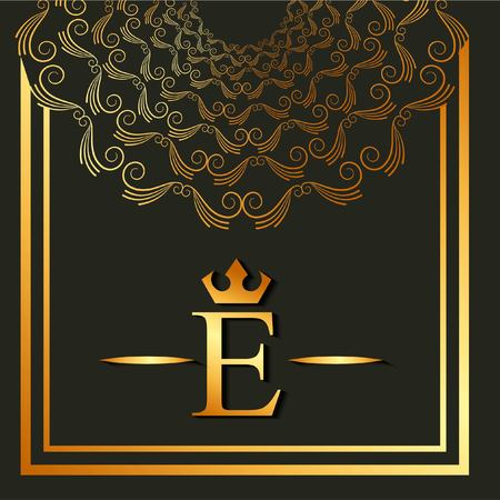 Elegant and luxury font round frame decoration geometric design vector illustration