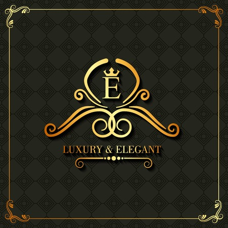 Luxury and elegant monogram swirl floral template vintage vector illustration
