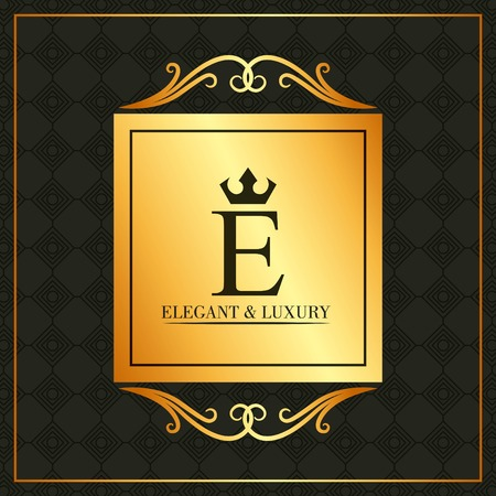 Luxury and elegant E letter golden banner swirl decoration dark background vector illustration