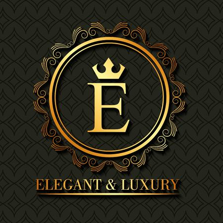 Golden elegant and luxury monogram round frame floral vector illustration Illustration