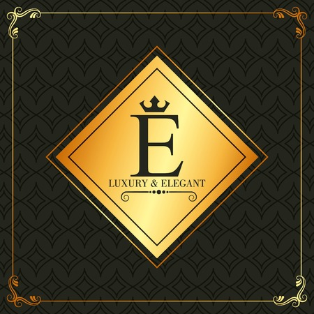 Luxury and elegant E letter frame decoration invitation vector illustration