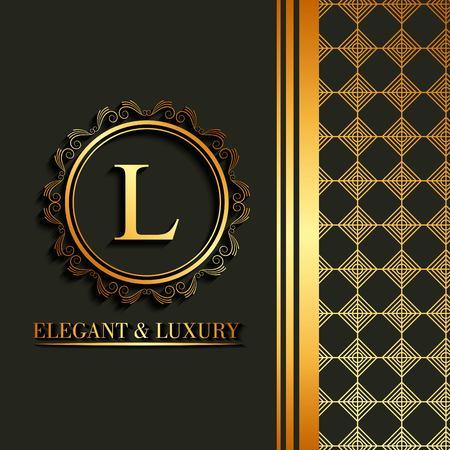 Eleganter und Luxusguß, Buchstabe L in der runden Rahmendekoration mit geometrischem Design auf der Seitenvektorillustration.