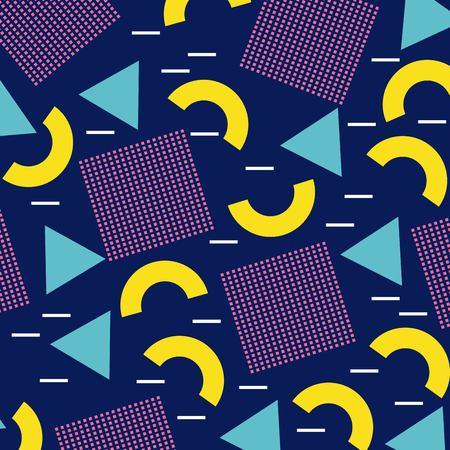 Het geometrische naadloze patroon van Memphis die vierkant half cirkelcijfer in blauwe gele vectorillustratie herhalen