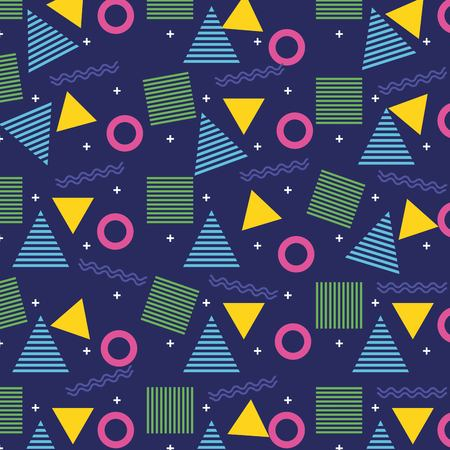Geometric seamless pattern trendy memphis design retro background template vector illustration.