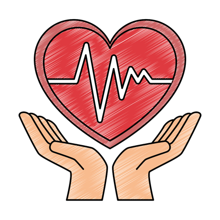 hands with heart cardio isolated icon vector illustration design