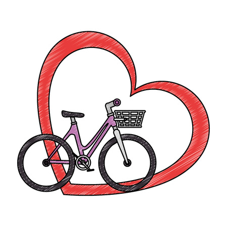 Bicycle with love heart vector illustration design