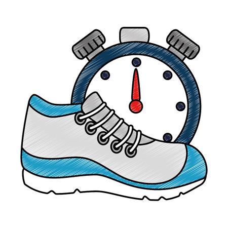 Sportschoentennis met ontwerp van de chronometer het vectorillustratie