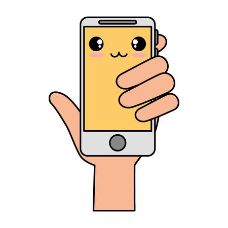smartphone device with hand human kawaii character vector illustration design