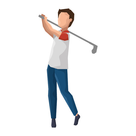 Man golfer playing avatar vector illustration design