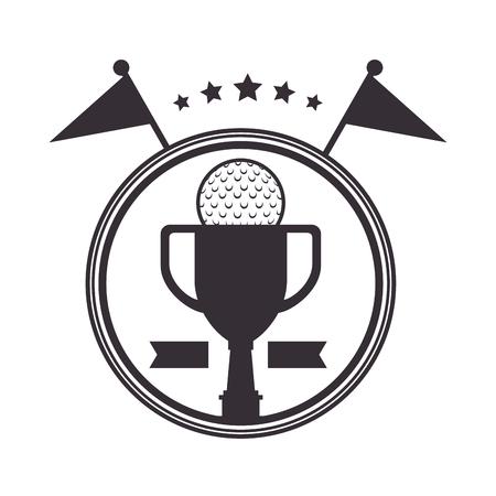 Golf trophy cup championship award icon vector illustration design.