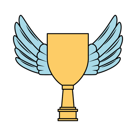 Trophy cup with wings championship award vector illustration design