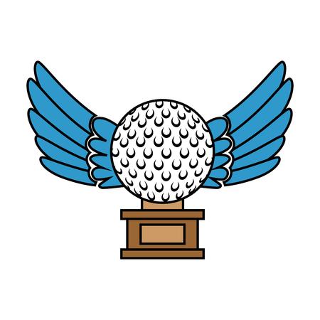 Golf ball with wings championship award icon vector illustration design. Illustration