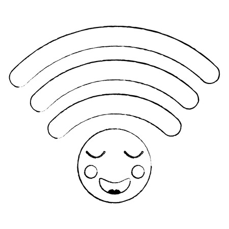Happy wireless connection kawaii icon image vector illustration design