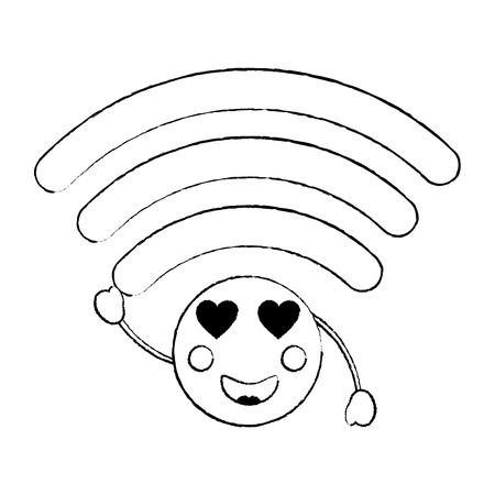 Wifi heart eyes icon image. Vector illustration design. Illustration