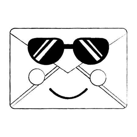 선글라스 아이콘 이미지와 함께 메시지 봉투입니다. 벡터 일러스트 레이 션 디자인. 일러스트