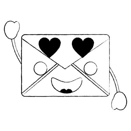 Message envelope heart eyes icon image. Vector illustration design.
