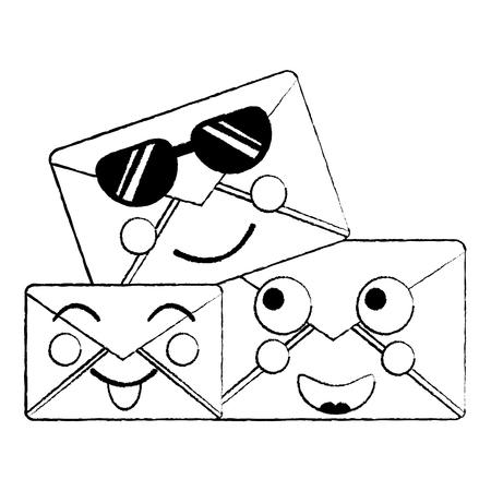 Cute mail envelope cartoon illustrations. Illustration