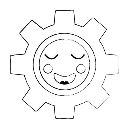 Cute gear piece cartoon style illustration. 向量圖像