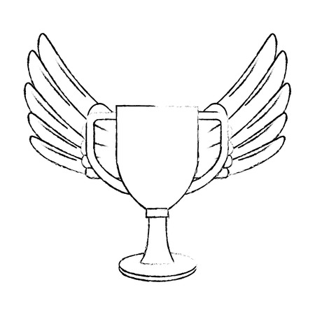 trophy cup with wings championship award vector illustration design Illustration