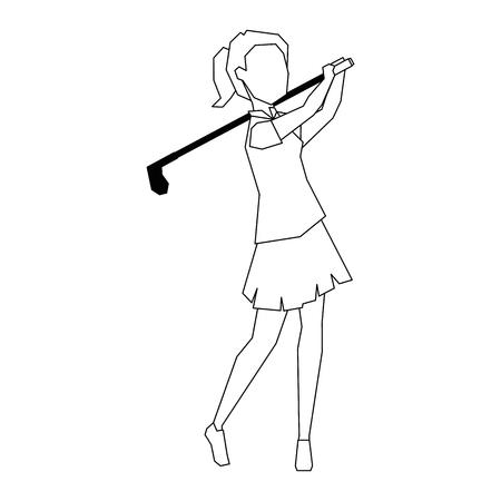 A woman golfer playing vector illustration design Иллюстрация