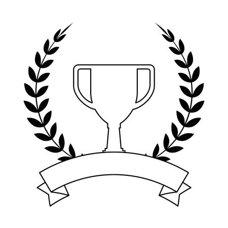 trophy cup emblem championship award vector illustration design