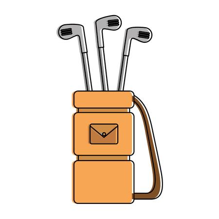 Golf bag with clubs vector illustration design