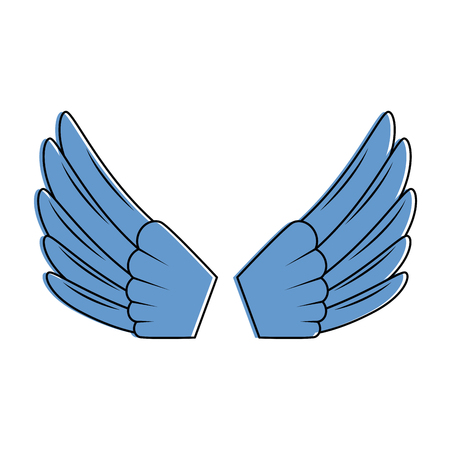 날개 격리 된 아이콘 벡터 일러스트 디자인 열기