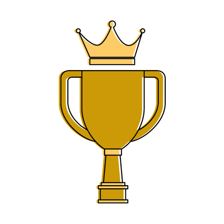 Trophy cup with crown championship award vector illustration design. Illusztráció