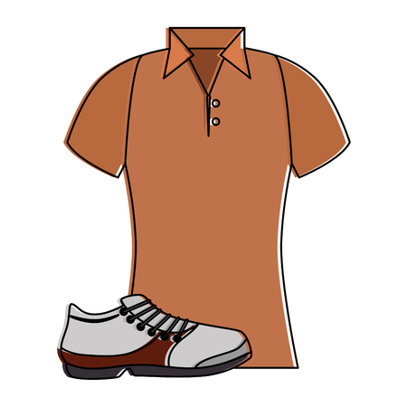 Golf shirt uniform with shoe vector illustration design.