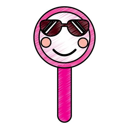 かわいい面白い虫眼鏡。●ベクトルイラスト描画デザイン。