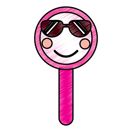 Cute funny magnifying glass. Vector illustration drawing design.