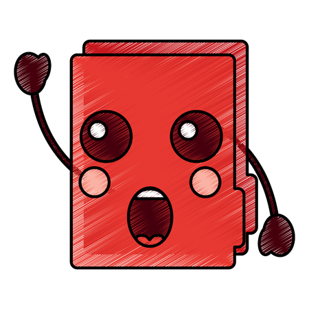 Folder document cute cartoon vector illustration drawing design