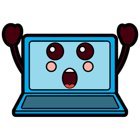 verrast laptop kawaii pictogram afbeelding vector illustratie ontwerp