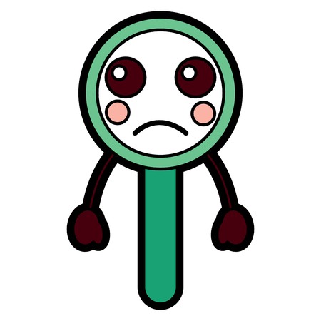 Sad magnifying glass kawaii icon image vector illustration design